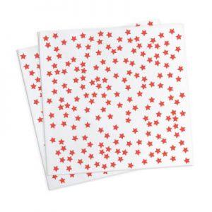 Χαρτοπετσέτες 33x33εκ. κόκκινα αστέρια 20τεμ.