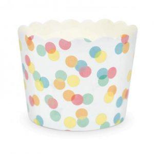 Θήκες χρώμα confettis για cupcake 6x4,5εκ. 25τεμ.