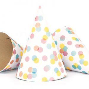 Καπελάκια κώνοι χάρτινα confettis 6τεμ.