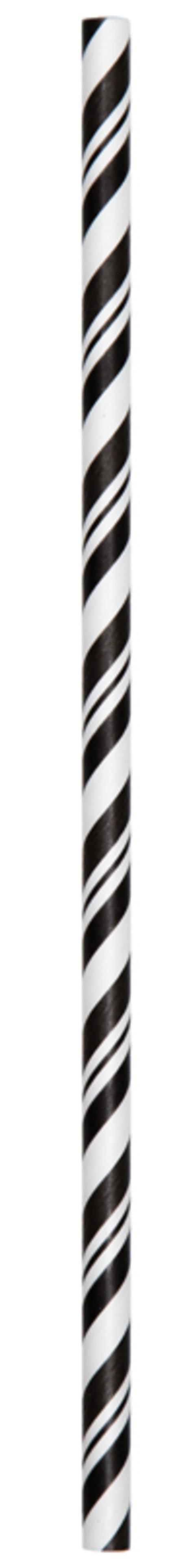 Χάρτινα Καλαμάκια Ριγέ Μαύρο-Λευκό 24τεμ