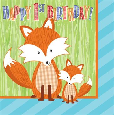 """Χαρτοπετσέτες Φαγητού """"Happy 1st Birthday"""" Forest Fox 33X33εκ. 16τεμ."""