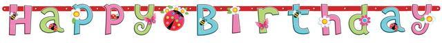 Γιρλάντα γράμματα  Κοριτσίστικος Κήπος happy Birthday
