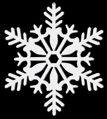 Κρεμαστή Διακόσμηση Λευκή Χιονονιφάδα με γκλίτερ 10,2εκ. 4τεμ.
