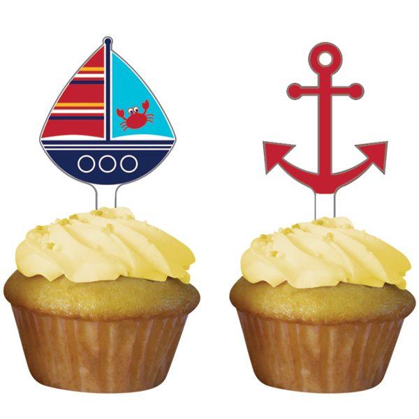 Διακοσμητικά για Cupcakes Ahoy Matey 5,08x6.98cm 12τεμ.