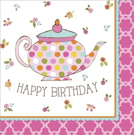 Xαρτοπετσέτες Φαγητού  Tea Time Happy Birthday 32.7 x 32.3cm 16τεμ