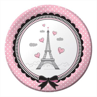 Πιάτα γλυκού 18εκ. Party in Paris 8τεμ.
