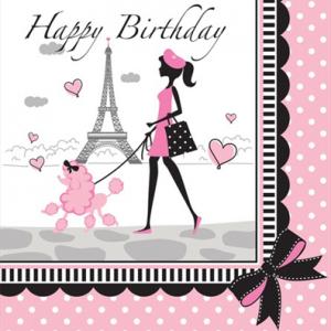 """Χαρτοπετσέτες 2φυλλες φαγητού """"Happy Birthday"""" 33x33εκ. Party in Paris 18τεμ."""