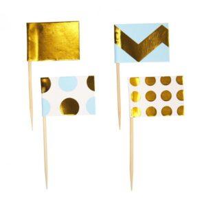 Cupcake Sticks Chevron Χρυσό Γαλάζιο 20τεμ.