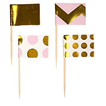 Cupcake Sticks Chevron Χρυσό Ρόζ 20τεμ.