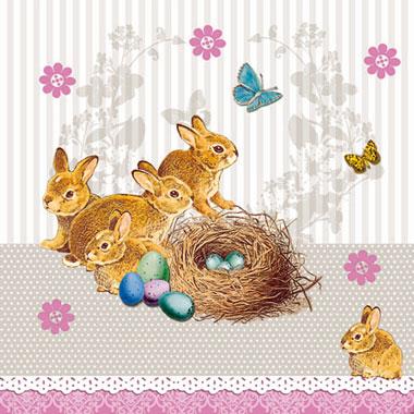 Χαρτοπετσέτες Γλυκού Bunnies Nest Taupe 25x25 cm 20τεμ.