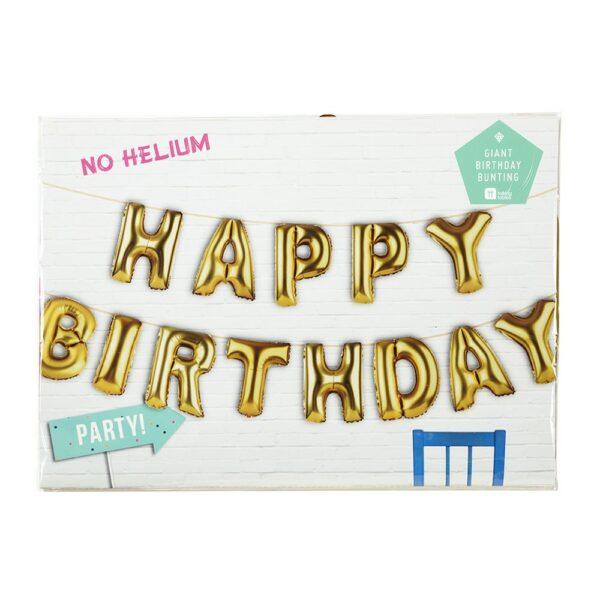 Μπαλόνι Γιρλάντα χρυσή Happy Birthday