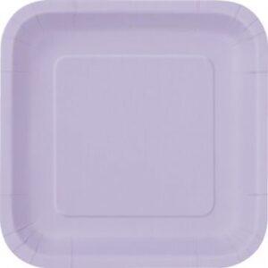 Πιάτα γλυκού τετράγωνα 18εκ. λιλά μονόχρωμα 16τεμ.