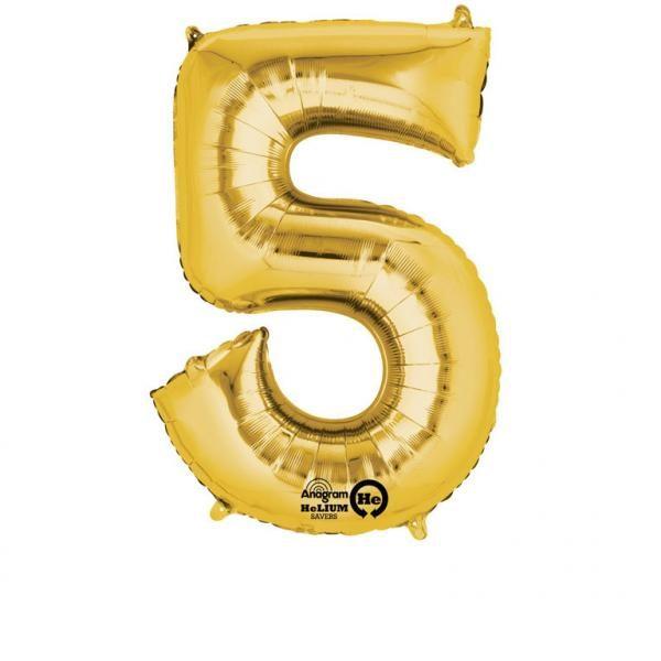 Μπαλόνι foil χρυσό ύψος 40εκ. Νο 5