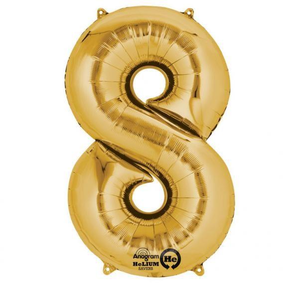 Μπαλόνι foil χρυσό ύψος 40εκ. Νο 8