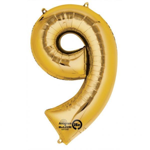 Μπαλόνι foil χρυσό ύψος 40εκ. Νο 9