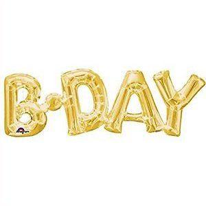 Μπαλόνι Foil χρυσό B-DAY οριζόντιο 1 τεμ.