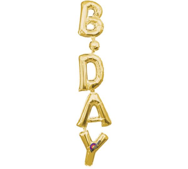 Μπαλόνι Foil χρυσό B-DAY κάθετο 1 τεμ.