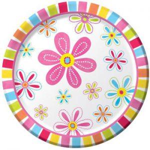 Πιάτα Φαγητού Pink Flower Cheer 22,2cm 8τεμ.