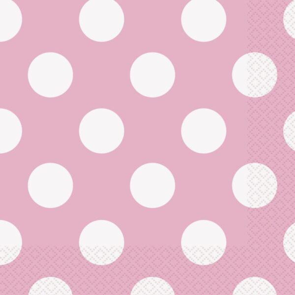 Χαρτοπετσέτες γλυκού 25x25εκ. ροζ πουά 16τεμ.