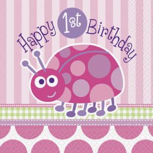 Χαρτοπετσέτες 1st birthday lady bug ροζ 16τεμ.