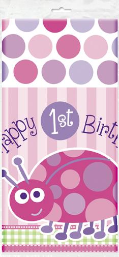 Τραπεζομάντηλο137x213εκ. 1st birthday lady bug ροζ