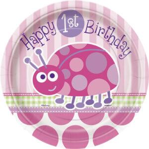Πιάτα γλυκού 17,8εκ. 1st birthday lady bug ροζ 8τεμ.
