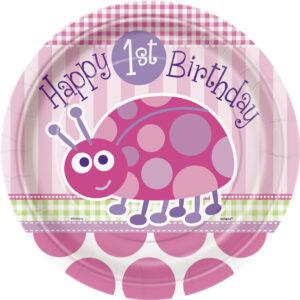 Πιάτα φαγητού 23εκ. 1st birthday lady bug ροζ 8τεμ.