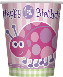 Ποτήρια 270ml 1st birthday lady bug ροζ 8τεμ.
