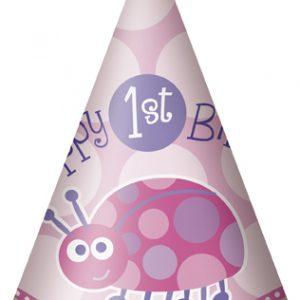 Χάρτινα καπελάκια 1st birthday lady bug ροζ 8τεμ.