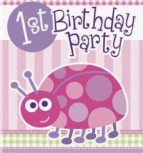 Προσκλήσεις 1st birthday lady bug ροζ 8τεμ.