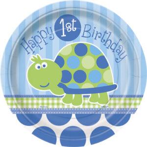Πιάτα γλυκού 17εκ. 1st birthday turtle 8τεμ.