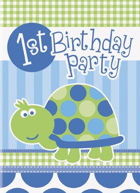 Προσκλήσεις 1st birthday turtle 8τεμ.