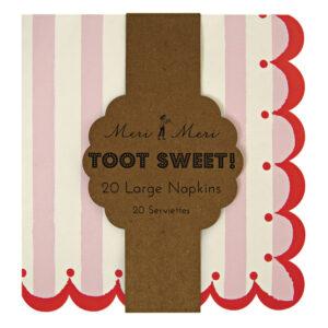 Toot Sweet Pink Stripe Χαρτοπετσέτες Φαγητού 20τεμ