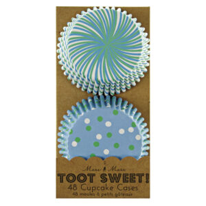 Toot Sweet Blue Stripe and Dots Θήκες για Cupcakes (24 Χ 2 σχέδια)