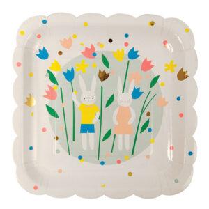 Πιάτα φαγητού χάρτινα Easter Bunny 8τεμ.