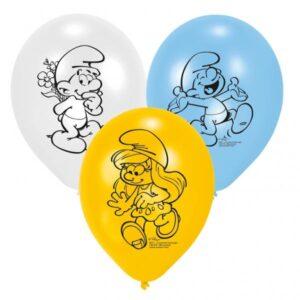 Μπαλόνια με φιγούρες Στρουμφάκια 6τεμ.