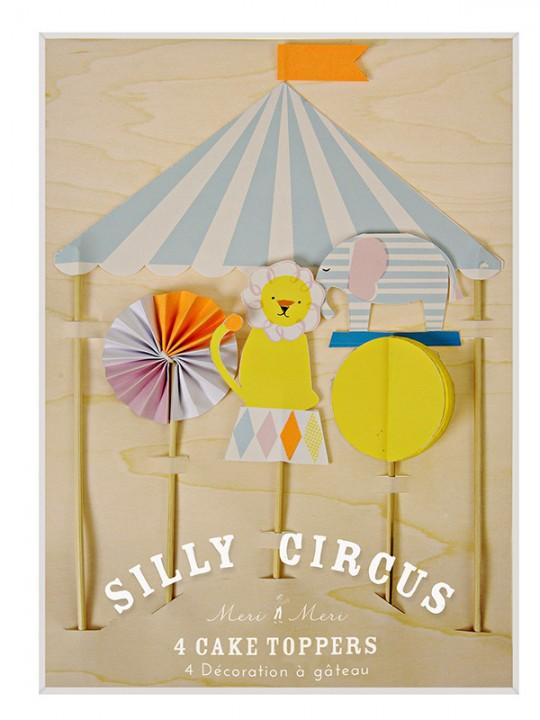 Διακοσμητικά τούρτας ή κέικ Silly Circus 4τεμ.