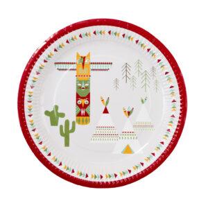 Πιάτα Φαγητού Χάρτινα με σκηνή Ινδιάνου 12 τεμ. 23εκ.