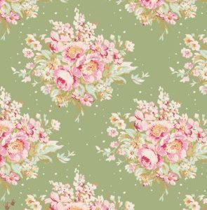 Tilda ύφασμα Summer Floral Green 50x55εκ.