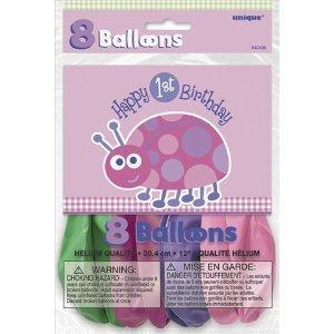 Μπαλόνια 1st birthday lady bug ροζ 8τεμ.