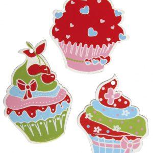 Ξύλινα διακοσμητικά με αυτοκόλλητο Cupcakes 12τεμ.