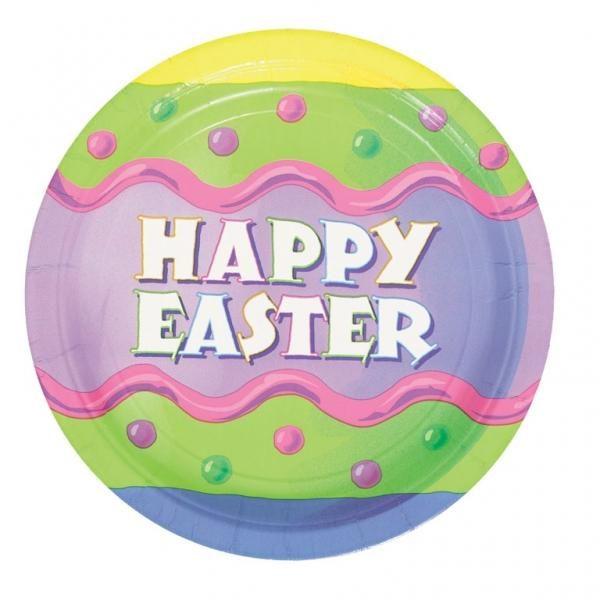 Χάρτινο πιάτο φαγητού 23εκ. Happy Easter 8τεμ.
