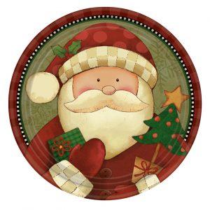 Πιάτα φαγητού χάρτινα 22,8εκ. Cozy Santa 8τεμ.