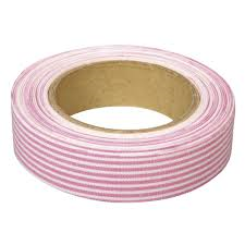 Υφασμάτινη αυτοκόλλητη ταινία ριγέ ροζ 1τεμ. (15mm x 5m)