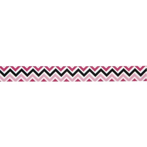 Υφασμάτινη αυτοκόλλητη ταινία chevron ροζ-φούξια-μαύρο 1τεμ. (15mm x 5m)