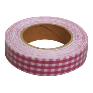 Υφασμάτινη αυτοκόλλητη ταινία καρώ ροζ 1τεμ. (15mm x 5m)