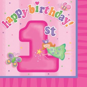 Xαρτοπετσέτες Happy 1st Birthday Fun at one girl  16τεμ