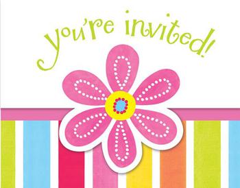 Προσκλήσεις Pink Flower Cheer  8τεμ.