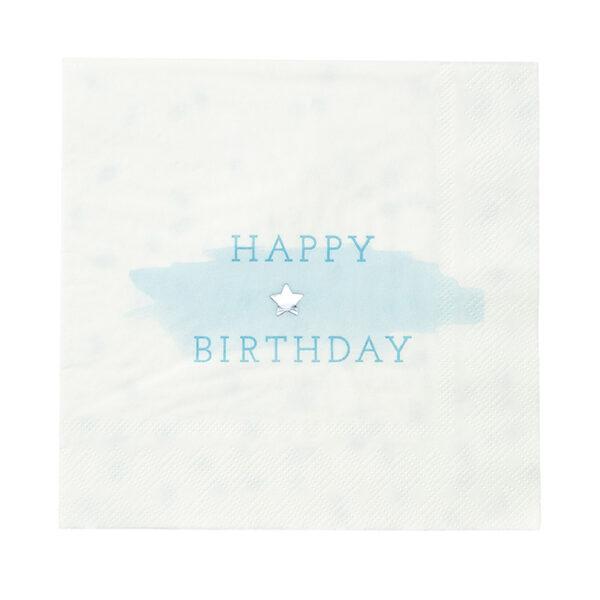 Χαρτοπετσέτες φαγητού γαλάζιες Happy Birthday 33x33 εκ. 16τεμ.