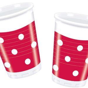 Ποτήρια μεσαίο μέγεθος κόκκινα πουά